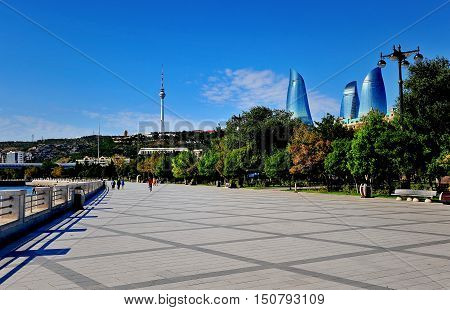 Summer view of Flame towers and seafront of Baku Azerbaijan