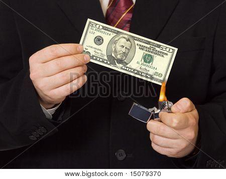 Hands and burnning money