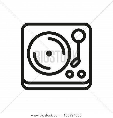 turntable vinyl record player icon on white background Created For Mobile Web Decor Print Products Applications. Icon isolated. Vector illustration