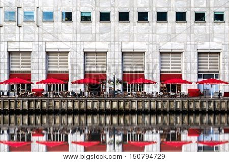 Waterfront restaurant in Canary Wharf financial district of London