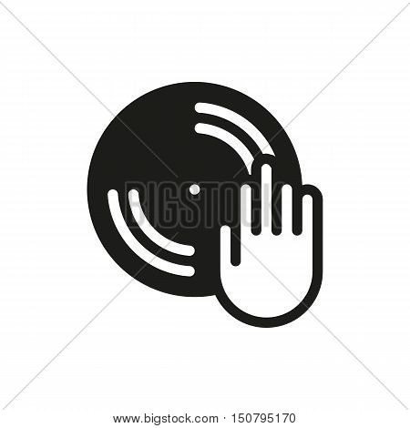 Disc with dj hand icon on white background Created For Mobile Web Decor Print Products Applications. Icon isolated. Vector illustration