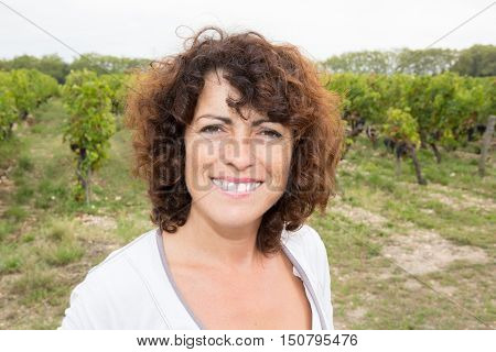 Middle Aged Woman Harvester Working In Vineyard