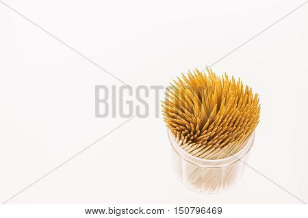 Bamboo toothpicks pack isolated on white background
