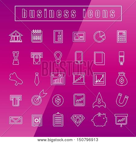 vector icons Business Thin Line white on background
