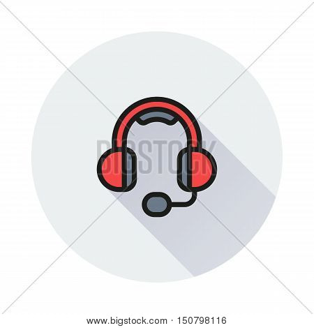 big headphones with a microphone on round background Created For Mobile Web Decor Print Products Applications. Icon isolated. Vector illustration