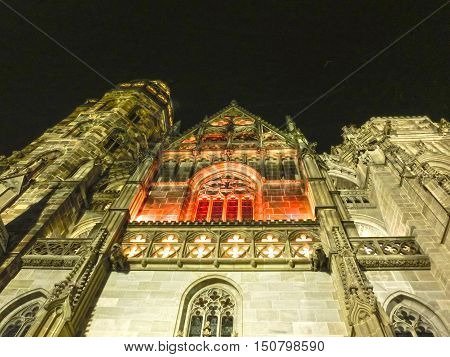 Facade of the St. Elisabeth Cathedral in Kosice, Slovakia at night