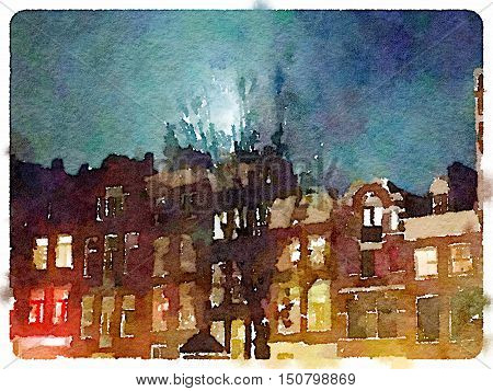 Digital watercolor painting of a row of terraced spooky Dutch houses with a tree and moonlight against the night sky.
