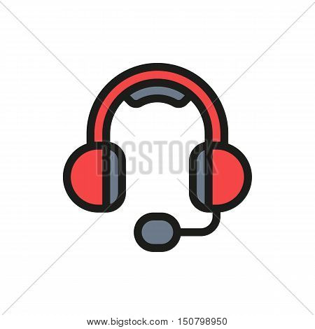 big headphones with a microphone on white background Created For Mobile Web Decor Print Products Applications. Icon isolated. Vector illustration