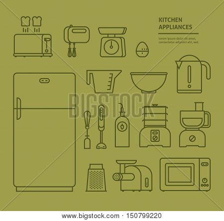 Home electronics appliances household icons set thin line. Small kitchen appliances. Collection icons design for your product or design web and mobile applications