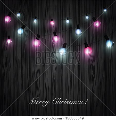 Christmas vintage background. Glowing garland light bulbs on dark wooden background. Vector illustration