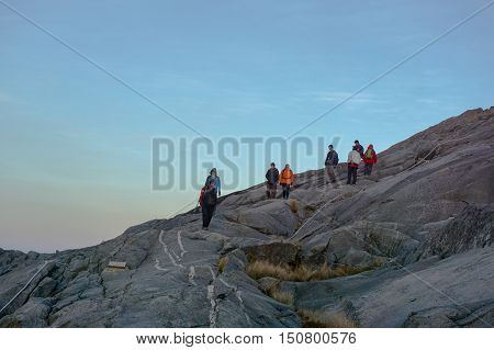 Ranau, Sabah - March 13, 2016: Climbers move down to Laban Rata after successfully completed conquering the mountain Kinabalu.