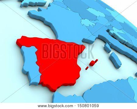 Spain In Red On Blue Globe