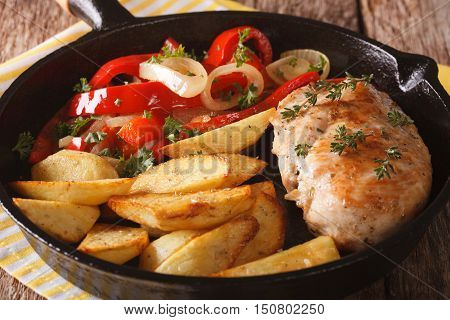 Spicy Chicken With Fried Potatoes And Warm Salad Of Peppers Closeup. Horizontal