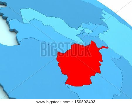 Afghanistan In Red On Blue Globe