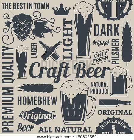 Typographic Vector Beer Seamless Pattern Or Background