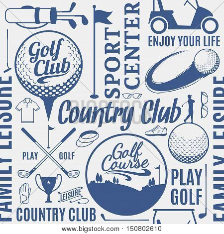 Typographic Vector Golf Seamless Pattern Or Background