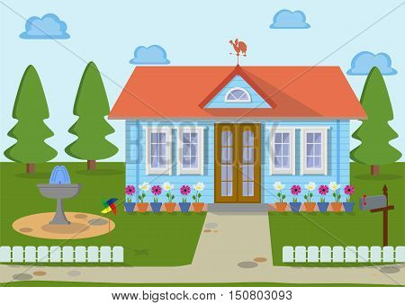 Countryside family wooden eco house on the nature with weather vanes, green lawns, trees, fountain, and flowers. Architecture design elements.