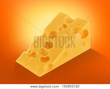 Piece of cheese isolated, chunk cutout on orange background