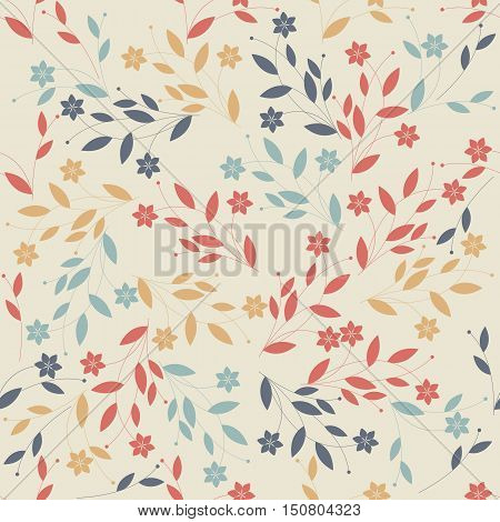 Seamless pattern with detailed retro flowers can be used for linen, napkin, designs, textile  and more creative designs.
