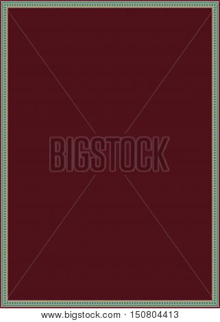 Burgundy background with turquoise border. Vector graphics. New Burgundy background. The background for the text.