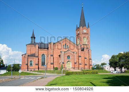 LOVIISA FINLAND - AUGUST 20 2016: Old Lutheran church in the town of Loviisa, sunny august day. Religious landmark  of the city Loviisa, Finland