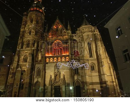 Facade of the St. Elisabeth Cathedral in Kosice, Slovakia at snowy night