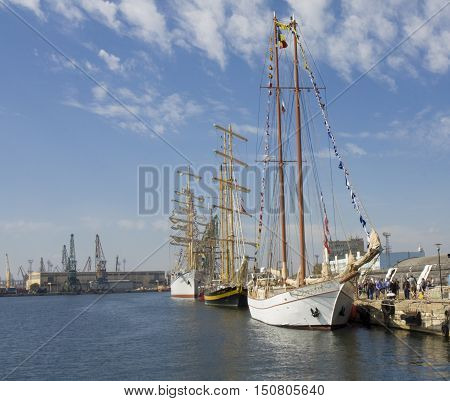 VARNA BULGARIA - OCTOBER 1 2016: opening of Black Sea Tall Ships Regatta sailing ships