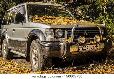 Kazakhstan, Ust-Kamenogorsk, october 6, 2016: Mitsubishi Pajero, old car, old japan suv in the street, autumn, fall, autumn  car, colors of autumn, fall background