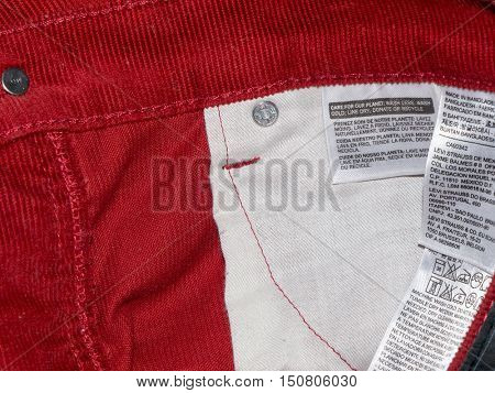 Belarus, Gomel, May 28, 2016.The LEVI'S red velvet jeans. LEVI'S is a brand name of Levi Strauss and Co, founded in 1853.