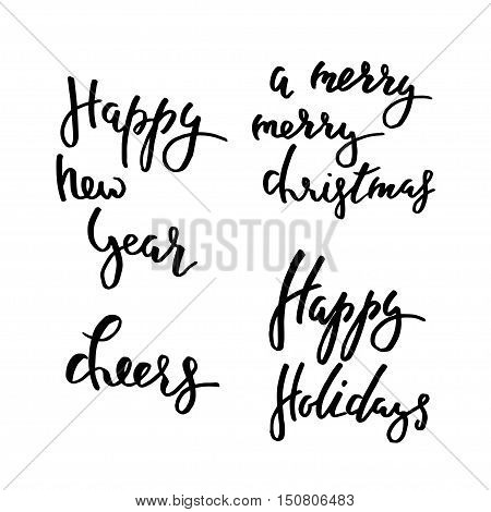 Winter Lettering Happy Holidays