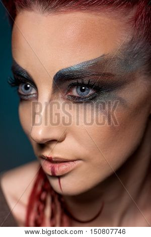 Creative portrait of a girl with a contrasting color close-up