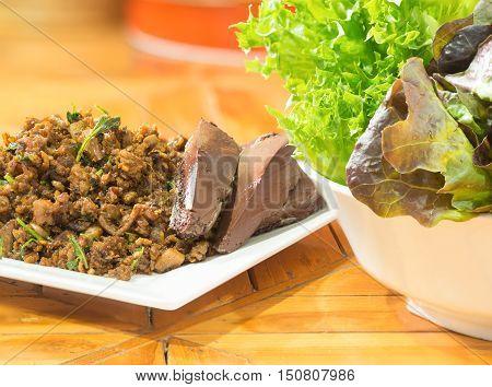Spicy minced pork salad, Thailand spicy food.