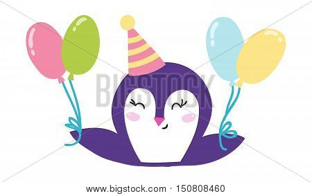 Illustration of cute penguin celebrating baby birthday. Penguin holding balloons cute vector character happy bird. Celebration party penguin holding balloons greeting cheerful animal.