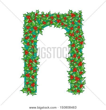 Holly Arch. hand drawn background, design element for Christmas and New Year greeting card or banner. Holly with berry, isolated on white