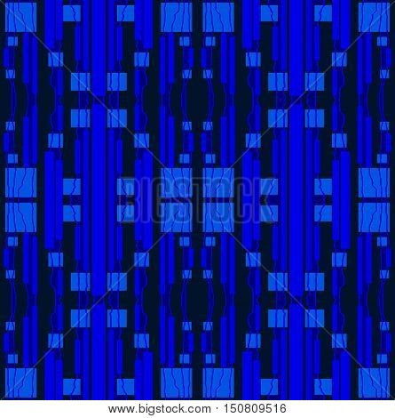 Abstract geometric seamless background. Regular stripes and squares pattern in blue shades on black.