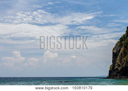 Sky and clear cloud with blue seaandaman background