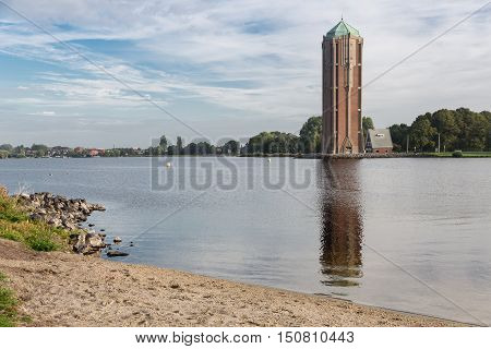 Old water tower near lake in Aalsmeer The Netherlands