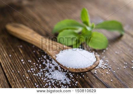 Old Wooden Table With Stevia Granules (selective Focus)