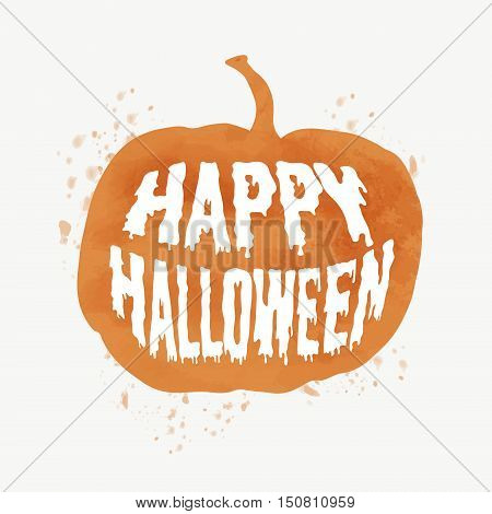 Happy Halloween Poster on bright watercolor background with stains and drops. Vector Illustration of Happy Halloween banner with halloween element