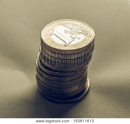 Vintage Many One Euro Coins