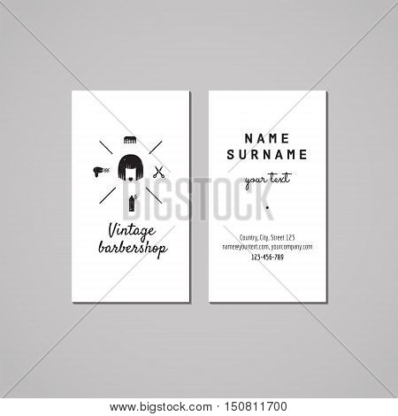 Barbershop (hair salon) business card design concept. Logo with bob hair woman. Vintage hipster and retro style. Black and white.
