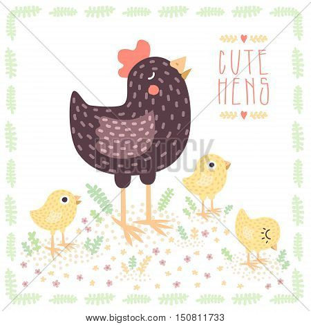 Cute dark brown hen with yellow baby chickens vector illustration.