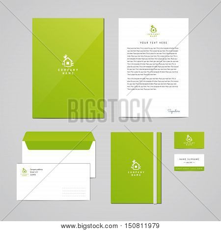 Corporate identity eco design template (documentation for business). Logo with bird and house with leaves. Perfect for your business.