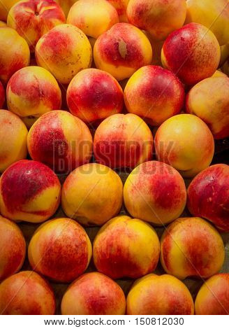 Peaches Fruit Food Color Pattern Texture Stock Photos - Peaches Market Background -