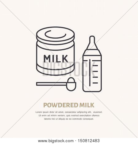 Modern vector line icon of powdered milk. Dry drink linear illustration. Outline baby food symbol. Powder milk in spoon baby bottle. Healthy formula sign dairy food.