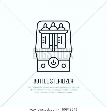 Modern vector line icon of bottle sterilizer. Linear illustration of empty baby bottle sterilizing. Outline infant food symbol. Healthy breast feeding milk bottle wash. Clean flask bath.
