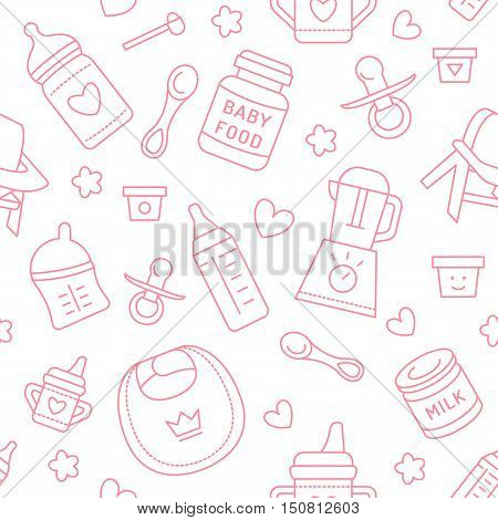 Seamless pattern baby food pastel color vector illustration. Infant feeding thin line icons. Cute repeated pink texture baby item for packaging baby shower card fabric. Birthday invitation design