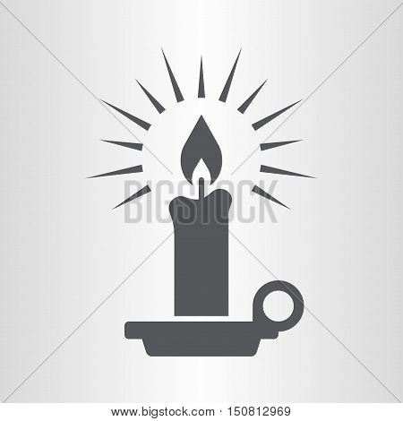 Candle icon. An ignitable wick embedded in wax or another flammable solid substance such as tallow that provides light.