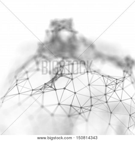 Abstract cybernetic particles background. Plexus fantasy technology background. 3d illustration. computer generated connection concept. polygonal space background with connecting dots and lines.