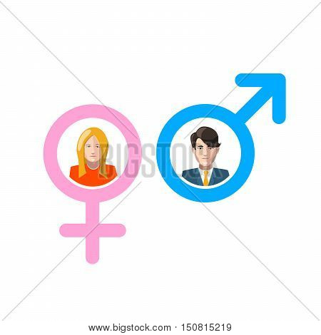 Man and woman gender signs with flat portraits isolated on white